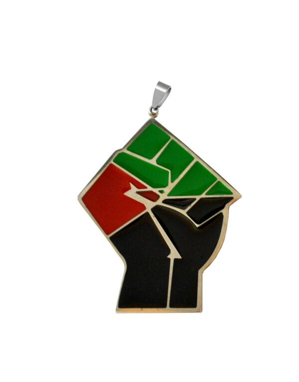 Pendentif Grand poing Rouge Vert Noir